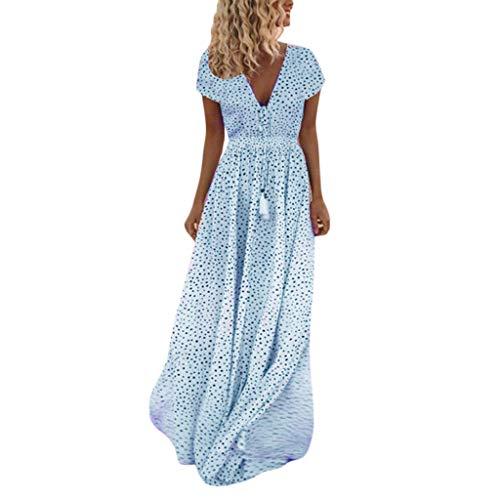 Fenverk Frauen Einstellbare TräGer Spitze Weiß V-Ausschnitt äRmellos Lange Maxi Kleid Kleider Damen Sommerkleider Cardigan Beach Badeanzug Strandkleid(B Blau,XXL)