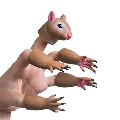 AQKILO Handi Squirrel Finger Hand Puppet Novelty Toys Finger Doll Props Animal Finger Puppet Gift for Kids