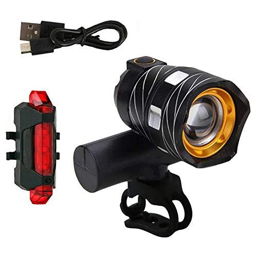 TOPofly Fahrradbeleuchtung Set, USB aufladbare Fahrradbeleuchtung Aluminiumlegierung Zyklus Rückleuchten wasserdichte super helle LED-Scheinwerfer und Rücklicht für alle Verkehrs Fahrräder