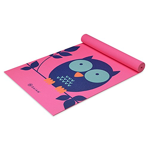Gaiam Kids Yoga Mat Exercise Mat, Yoga for Kids with Fun Prints - Playtime for Babies, Active & Calm Toddlers and Young Children, Owl, 3mm