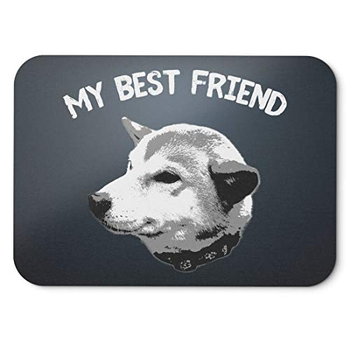 BLAK TEE My Best Friend Funny Shiba Inu Mouse Pad 18 x 22 cm in 3 Colours Black