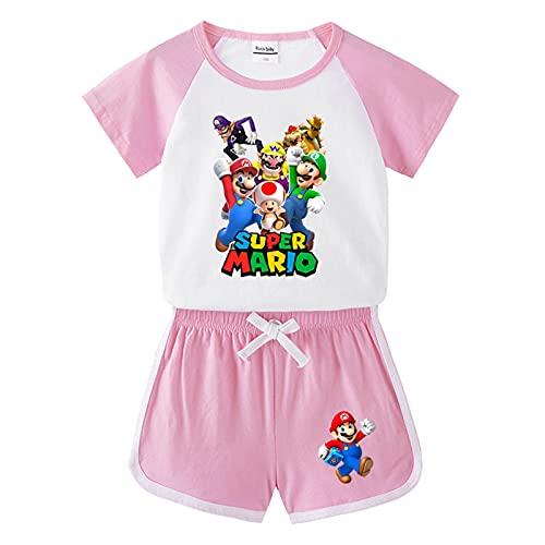 Kinder Super Mario Tshirts Kurze Hosen Satz Jungen Sommer Cartoon Pyjama Eingestellt Mädchen Baumwolle Tshirt Trainingsanzüge Zweiteilig Kids Kurzarm Shorts 2 Stück