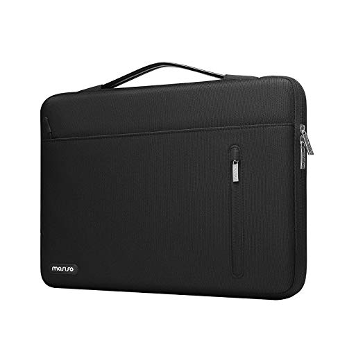 MOSISO 360 Protective Laptop Sleeve Compatible with MacBook Pro 16 inch, 15 15.4 15.6 inch Dell HP Acer Chromebook, Polyester Horizontal Shockproof Briefcase Bag with Trolley Belt & Right Pocket,Black