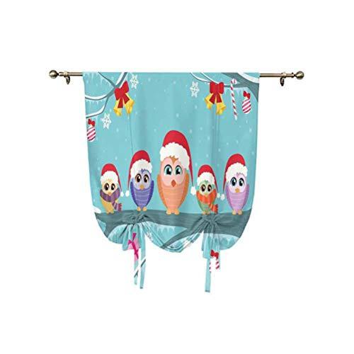Cortina romana para decoración de Navidad, diseño de búhos en rama, como pequeños elfos de Noel, con aislamiento térmico, globos romanos, 60,9 x 107,6 cm, para cocina, dormitorio de niños