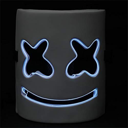 Máscara LED para Halloween, disfraz de DJ LED resplandor de miedo con luz para fiestas de carnaval