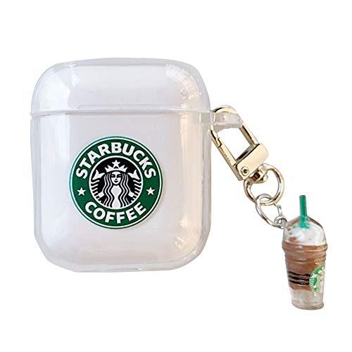 Tiyila Estuche de Auriculares Starbucks Coffee Coloured Drawing Funda de Auriculares inalámbricos Bluetooth para Airpods 1/2 con Colgante