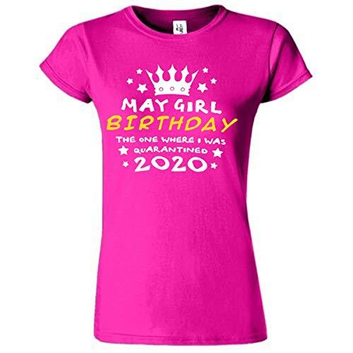 Amo Distro May Girl Birthday T Shirt Quarantined T-Shirt Regalo per Amici Virus Lockdown | Regalo di compleanno in quarantena | rosa L