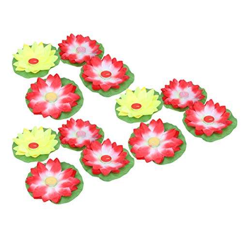 PIXNOR 15 Unids Flor de Loto Flotante Artificial Vela Tealight Cup Lily Flower Pool Linternas Festival Praying River Lámpara para Niños Adultos Color Aleatorio
