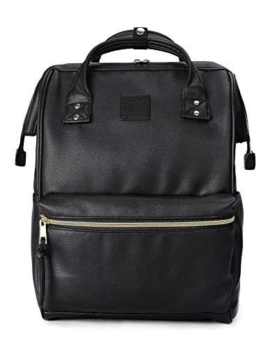 Kah&Kee Leder Rucksack Wickeltasche mit Laptopfach Travel School für Damen (Schwarz, Groß)