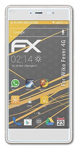 atFolix Panzerfolie kompatibel mit Wiko Fever 4G Schutzfolie, entspiegelnde & stoßdämpfende FX Folie (3X)