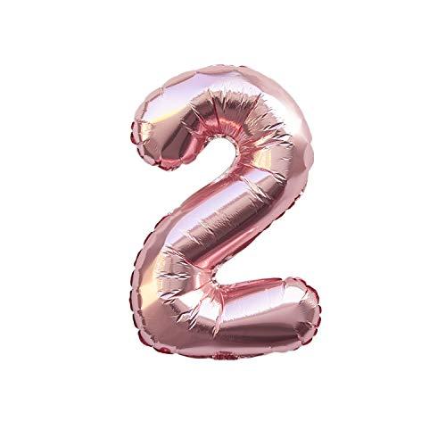 Oblique Unique® Folien Luftballon mit Zahl Nummer in Roségold für Geburtstag Jubiläum Party Deko Folienballon - Zahl wählbar (Nr 2)