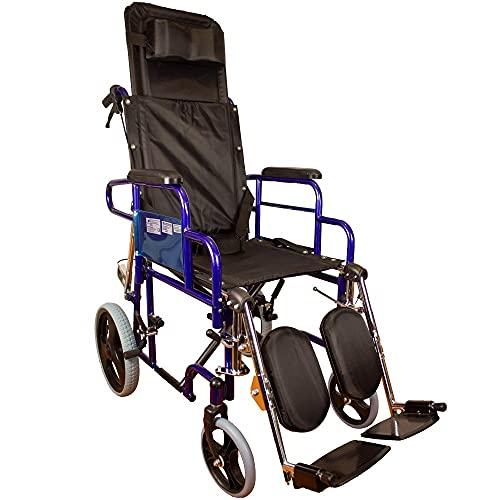 Mobiclinic, modelo Esfinge, Silla de ruedas para minusválidos, reclinable 90º, plegable, ortopédica, freno en manetas, reposapiés, reposabrazos, color Negro, asiento 42 cm, ultraligera