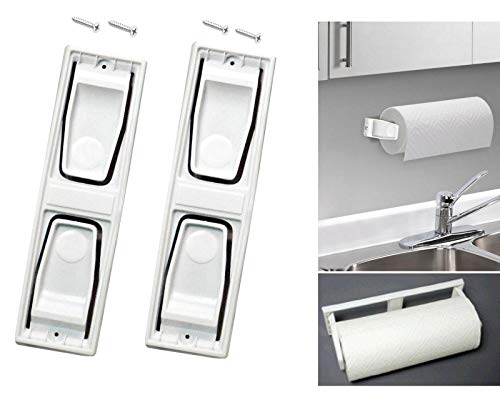 2 AZI Wall Mounted White Plastic Paper Towel Holder with Screws - Roll Organizer for Kitchen, Bathroom, Craft Room - EASY Paper Towel change