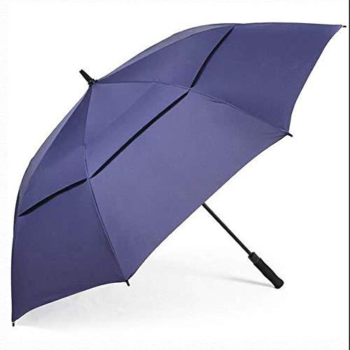 WZP-Golfschirm - Doppelter Baldachin, extrem langlebiger Sonnenbrolly, pflegeleichter Regenschirm - 130 cm - Ideal für Garten, Picknicks und Terrassen,Blau