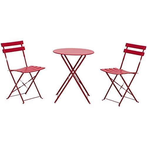 Outsunny Set 3 Pzi Mobili da Giardino Pieghevoli: Tavolo Rotondo (Ф60x71cm) 2 Sedie (41.8x47.8x80.5cm), Acciaio Rosso