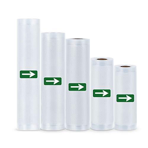 LAKIDAY Vakuumrollen 5 Rollen Folienrollen BPA-Frei für alle Vakuumierer, Stark & Reißfest & Kochfest & Wiederverwendbar Vakuumbeutel