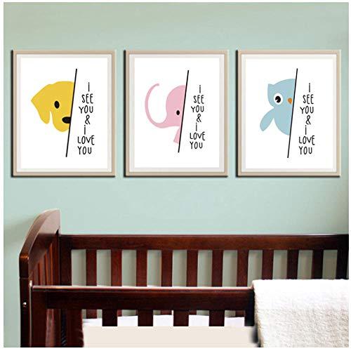 woplmh Ich liebe Dich Ich liebe Dich lieve Dich citaat olifant canvas schilderij poster en druk kinderkamer muurkunst schilderijen baby kinderkamer wooncultuur -40x50cmx3Pcs (geen lijst)
