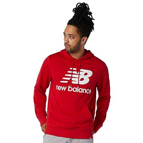 New Balance Sudadera con Capucha para Hombre Essentials Stacked Logo, Hombre, MT03558, Equipo Pimiento Rojo, S