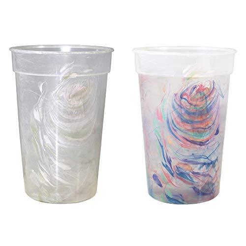 12oz Color Changing Rainbow Confetti Stadium Cup, Durable plastic, Top shelf dishwasher safe – set of 12