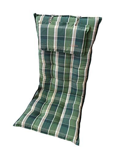 Sun Garden Hochlehnerauflage Monte 120x50x8 cm (grün-grau kariert)