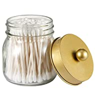 SheeChung Mason Jar Bathroom Apothecary Jars - Qtip Holder Canister Gold Bathroom Accessories Vanity Storage Organizer Glass for Qtips,Cotton Swabs,Ball,flossers,Hair Accessories/Gold (1 Pack)
