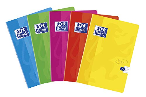 Oxford Touch Schulheft A6, 48 Blätter, kariert, 10 Stück-Packung, Farbenmix, 400074879