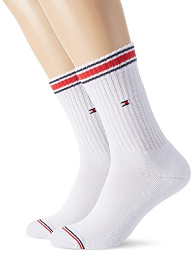 Tommy Hilfiger Men's White Sports Socks with red and blue bands