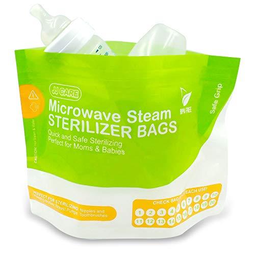 Paquete de 20 bolsas esterilizadoras de vapor de microondas – 400 usos – Bolsas reutilizables de vapor de microondas para biberones de bebé – Bolsas esterilizadoras de microondas (4 cajas/5 bolsas por caja)