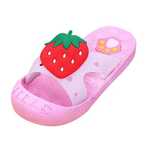 Infant Kids Baby Girls Summer Flip Flop Sandals Cute Fruit Paw Beach Soft Bottom Comfortable Lightweight Shoes (6.5-7Years, Pink)