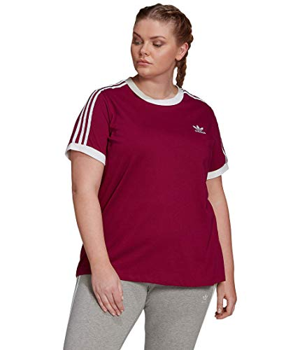 adidas Originals Women's 3-Stripes Tee, Power Berry/White, 3X
