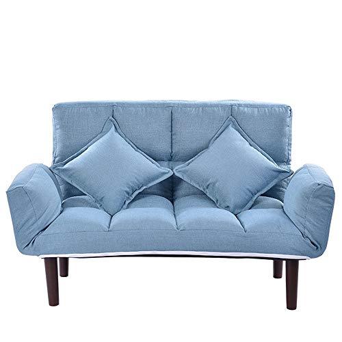 Moderne stoffen sofa met verstelbare rugleuning, 4 kleuren voor woonkamer of kantoor, moderne houten loungebank 130x63x73cm rood
