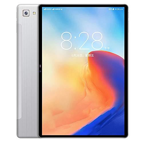 Facibom Tablet PC, tarjeta dual de 10 pulgadas, 2 + 32 GB, 8 núcleos, teléfono 4G, conexión IPS, navegación GPS, plata, enchufe británico