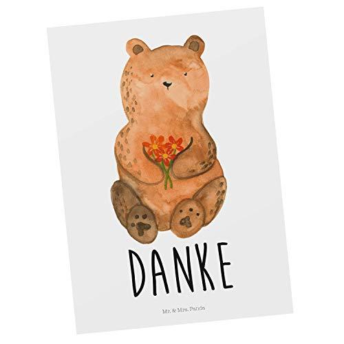 Mr. & Mrs. Panda Karte, Einladung, Postkarte Dankbär mit Spruch - Farbe Weiß