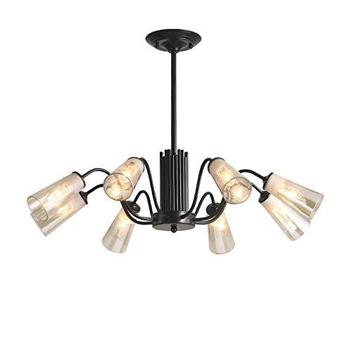 Lyuez Verstelbare plafondlamp glas smeedijzeren kroonluchter achterwaarts zwart slaapkamer eetkamer woonkamer koplamp E14 warm wit driekleurig LED-glaslampen