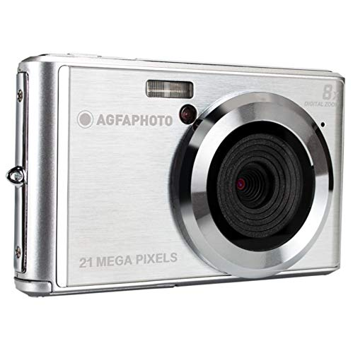 AGFA Photo – Kompakte Digitalkamera mit 21 Megapixel CMOS-Sensor, 8x Digitalzoom und LCD-Display Silber
