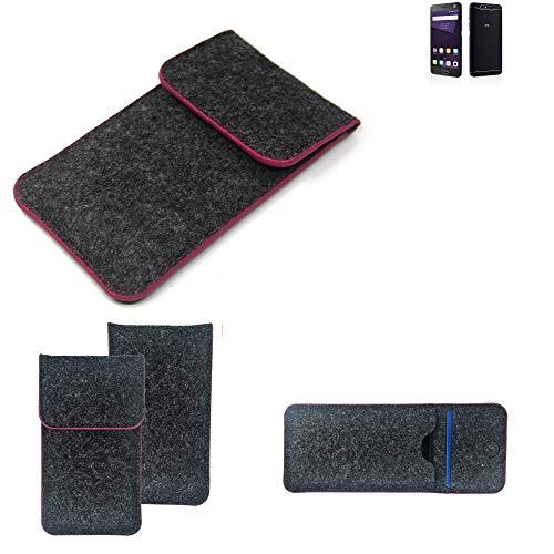 K-S-Trade Filz Schutz Hülle Für ZTE Blade V8 64 GB Schutzhülle Filztasche Pouch Tasche Hülle Sleeve Handyhülle Filzhülle Dunkelgrau Rosa Rand
