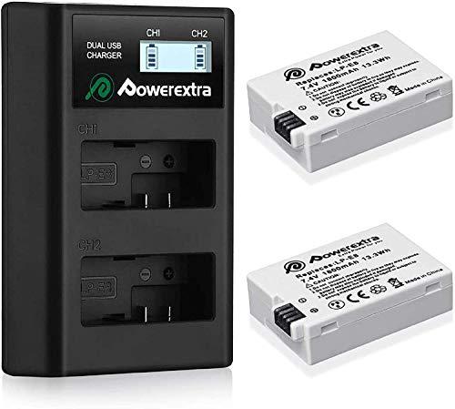 Powerextra 2 Baterías de Repuesto para LP-E8 1800mAh Li-Ion con Cargador Pantalla LCD para LP E8 Rebel T3i T2i T4i T5i EOS 600D 550D 650D 700D Kiss X5 X4 Kiss X6 LC-E8E