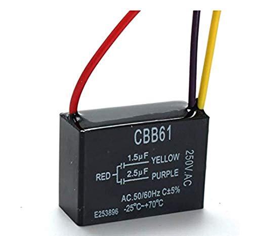 SUCAN CBB61 1.5uF + 2.5uF 3 DRAHT 250VAC Deckenlüfter Kondensator 3 Drähte