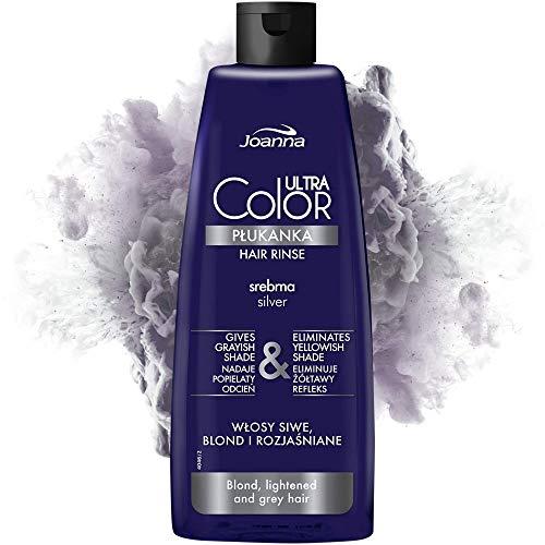 Joanna Ultra Color - Silberne Farbspülung für Blondes und Helles Haar - Aschgrauer Farbton - Natürlicher Glanz - Beseitigt Gelbstich in Haar - Hellt das Haar auf und...