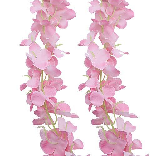 JaneYi 4 Stück 2M Künstliche Blumen Girlanden Gefälschte Hortensie Blüten Reben Seide Glyzinien Blume Hängende Rebe Pflanze für Innen Draußen Haus Büro Garten Hochzeit Arch Party Blumendekor (Rosa)
