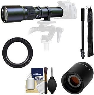 Samyang 500mm f/8.0 Telephoto Lens with 2X Teleconverter (=1000mm) + Monopod Kit for Nikon D3100, D3200, D5100, D7000, D700, D800, D4 Digital SLR Cameras
