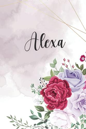 Alexa: Personalisiertes Notizbuch im Blumen Design Tagebuch Journal Dankebuch Notizheft. Individuelles Geschenk für Frauen & Mädchen