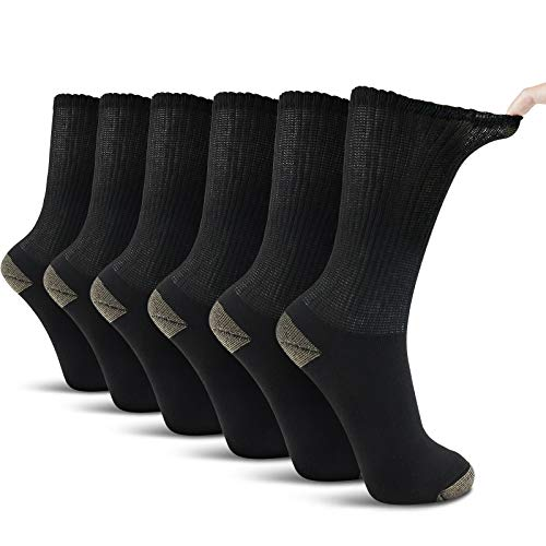 LIN Diabetic Socks Men 6 Pack, Men's Copper Cushioned Moisture Wicking Diabetic Business Socks, Large 13-15 BLACK