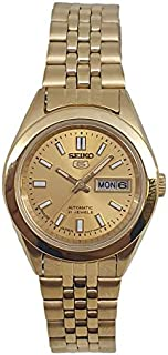 Seiko automatic 21 Jewels Calendar golden Stainless steel ladies watch SYMF82J