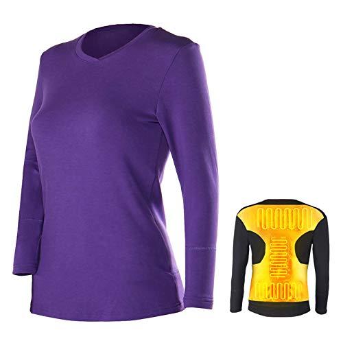 Yeah-hhi Elektro-Heizung Unterwäsche Anzug Intelligent USB-Warme Kleidung Männer Frauen Ski Klettern Hemden Und Hosen Für Den Winter,Purple~Shirt,L