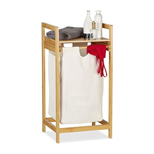 Relaxdays Wasmand bamboe, waszak met legplank, uittrekbaar, hoekig, draagbare wasbox, binnenzak van 30 liter, natuur, 1 stuk