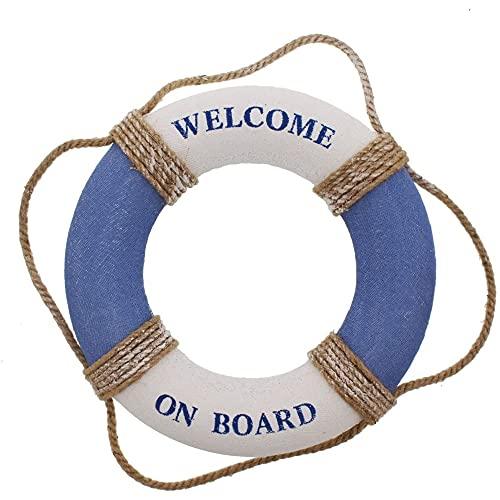 Juvale Anillo de la vida 'Welcome on Board' – Anillo de la vida para decoración de tubo de natación – Decoración de pared para el hogar – Azul blanco náutico – 31,8 cm (31,8 cm)