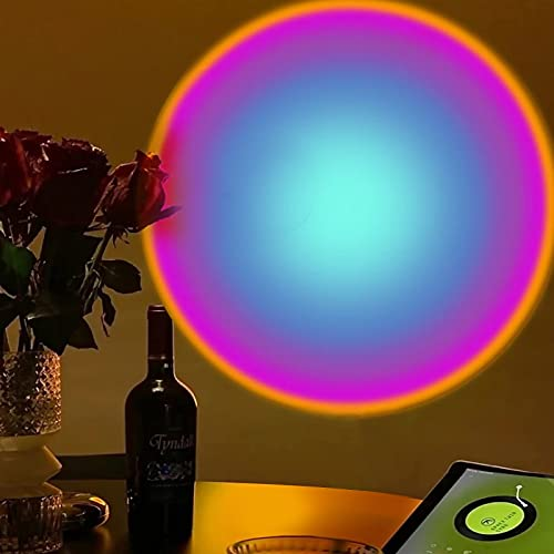 Czemo Sunset Lamp, Sunset Projection Lamp, LED Lampara Atardecer Rotación 180°, Lámpara de Proyección Arcoíris, Luz Nocturna LED para Dormitorio, Fiesta, Decoración