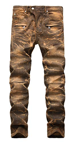 Calça jeans masculina estilosa com estampa camuflada e costura reta para motociclista azul, Camo Yellow, 42