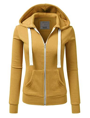 Doublju Lightweight Thin Zip-Up Hoodie Jacket for Women with Plus Size Mustard 1X